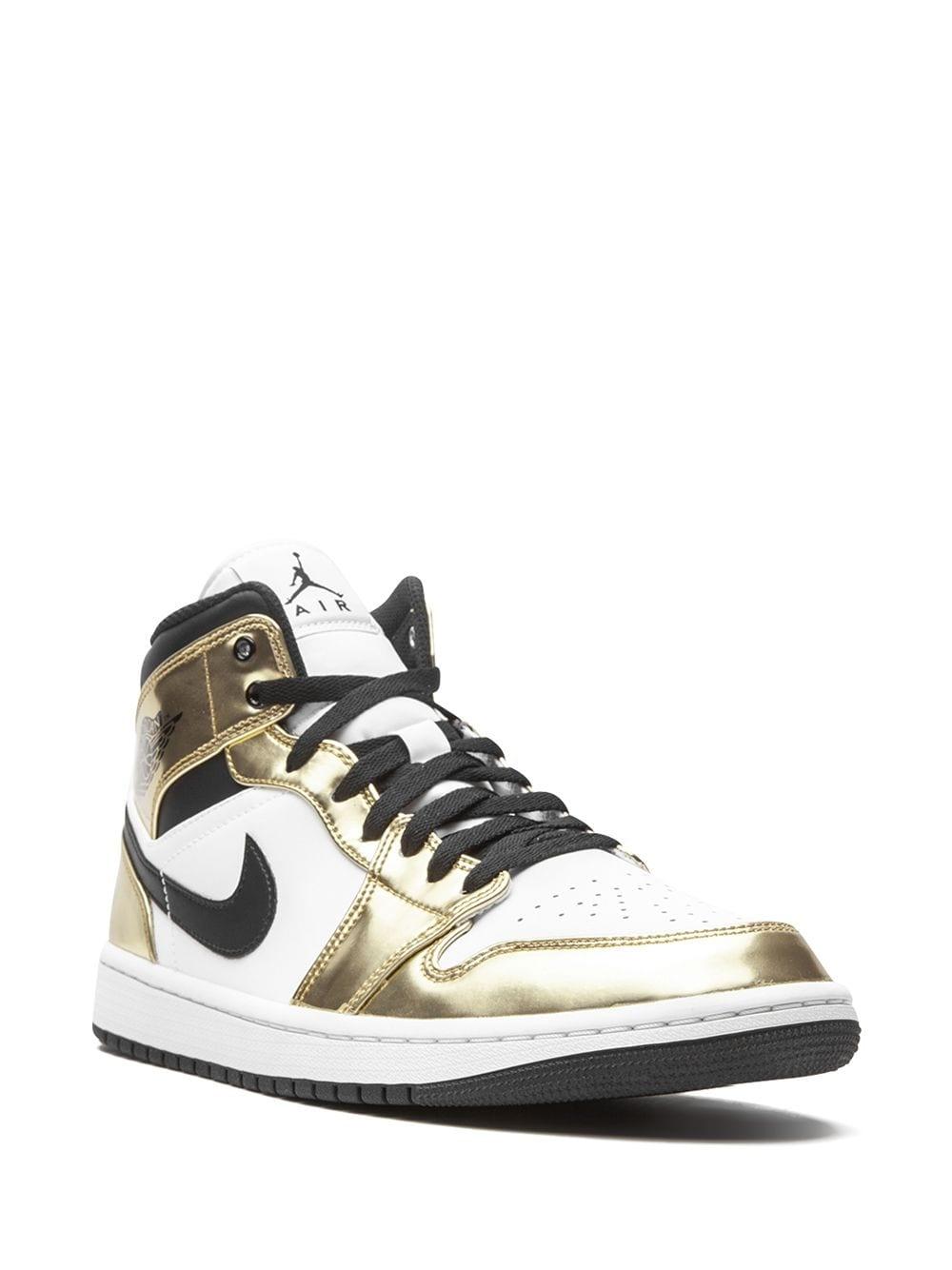 Кроссовки Jordan 1 Mid Metallic Gold Black White