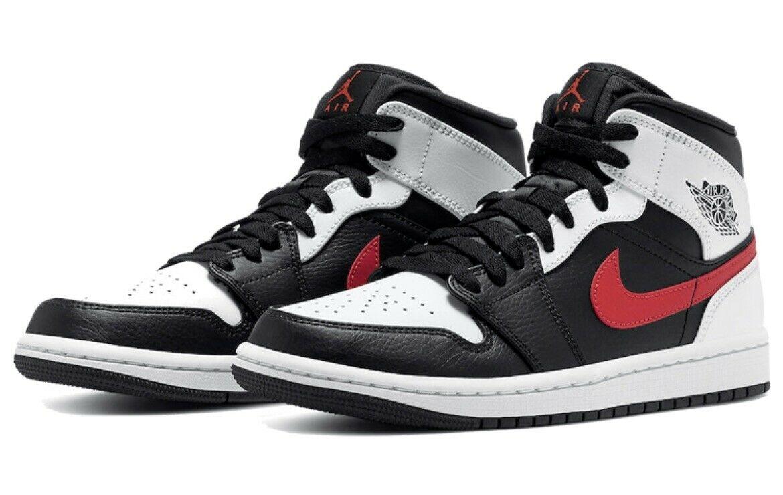 Кроссовки Jordan 1 Mid Black Chile Red White