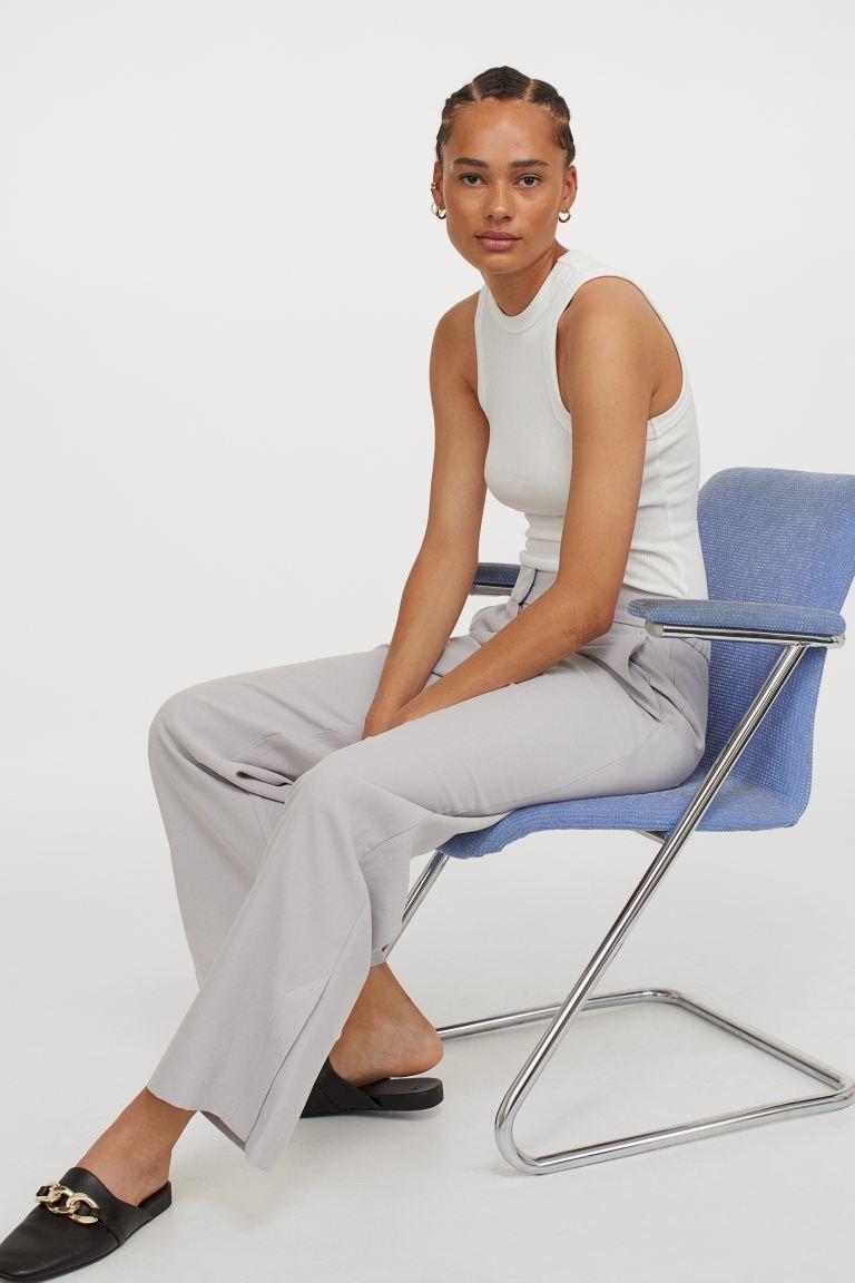 Светло-серые свободные брюки H&M